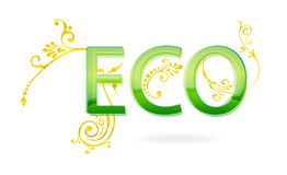 Eco sign green and gold color Stock Photo