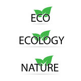Eco sign with green leaf vector illustration Royalty Free Stock Photo