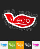 Eco sign leaf paper sticker with hand drawn Royalty Free Stock Photography