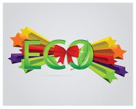 Eco sign with leafs and red ribbons Royalty Free Stock Photo