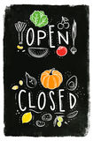 Eco signboard open close chalk Royalty Free Stock Image