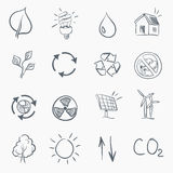 Eco Skerch Icon Set Stock Images