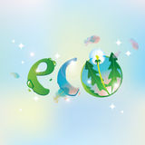 Eco the sky and dandelion Royalty Free Stock Photos