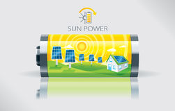 Eco solbatteri Royaltyfri Illustrationer