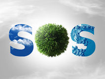 Eco sos concept. Logo sos with water green grass and blue sky Stock Photography