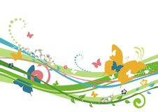 Eco spring background. Spring background with butterly, flower, leaf Stock Images
