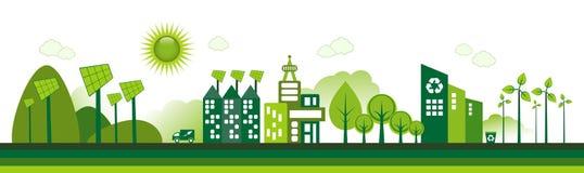Eco stad royaltyfri illustrationer