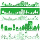 Eco stad. handskrivna illustrationer.