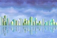 Eco Stadt, die im freien Wasser sich reflektiert Lizenzfreies Stockbild