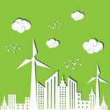 Eco-Stadt-Konzepthintergrund Stockfotos