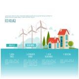 Eco-Stadtlandschaft Alternative Energie Abbildung 3D, getrennt Webseitenkonzept Lizenzfreie Stockfotos