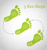 3 eco steps. Vector illustration of 3 ecology steps. Infographic elements Royalty Free Stock Images