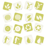 Eco stickers. Set of ( 16 ) Sixteen Eco vector stickers Royalty Free Stock Photography