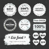 Eco stickers on a chalkboard Stock Image