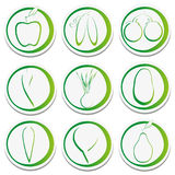 Eco stickers of fruits and vegetables. Stock Photos