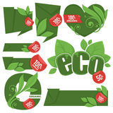 Eco stickers. Large vector ecological collection, eco friendly stickers, banners, emblems on white background Stock Photography