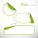 Eco stickers with leafs and shadows. Royalty Free Stock Photography