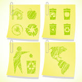 Eco sticky notes background Stock Photo