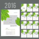 ECO style calendar of 2016. Vector illustration. ECO style Wall Monthly Calendar for 2016 Year. Vector Design Print Template with Place for photo.  A3, A2 or Stock Image