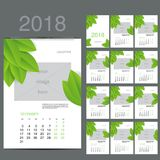 ECO style calendar of 2016. Vector illustration. ECO style Wall Monthly Calendar for 2018 Year. Vector Design Print Template with Place for photo. A3, A2 or Stock Photography