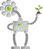 Eco Sunflower Robot. Eco Mettal Sunflower Robot with Digits saving Plants Stock Photography