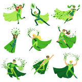 ECO superhero characters in action set, young men and women in green capes vector Illustrations Stock Images