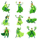 ECO superhero characters set, young men and women in different poses with green capes vector Illustrations. Isolated on a white background stock illustration
