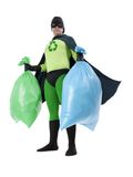 Eco superhero and household garbage. Eco superhero holding green and blue plastic bags full of domestic trash standing on white background - waste segregation Royalty Free Stock Photography