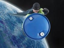 Eco superhero and hazardous waste. Eco superhero taking away blue container containing hazardous waste from Earth into outer space stock photo