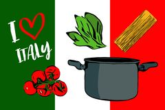 Side view of cartoon pasta ingredients on background of Italian flag colors. vector illustration