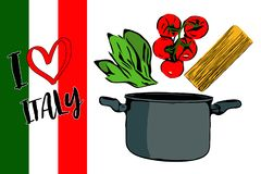 Green herbs, brunch of red cherry tomatoes and spaghettini going to gray pot. royalty free illustration
