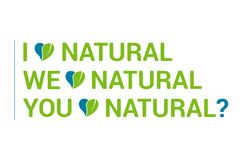 Typography I love natural quote set, heart with green leave. Eco quotes royalty free illustration