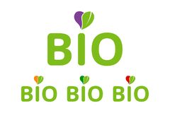 Flat colorful Bio logo emblem set, heart with green organic leave. Bio badges for web, print branding identity. Flat colorful Bio logo emblem vector set, heart royalty free illustration