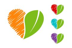 Hand drawn colorful Heart Eco emblem set with green organic leave. stock illustration