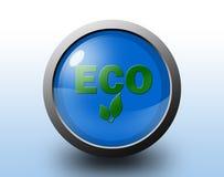 Eco symbol glansig knapp Arkivbild