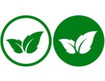 Eco symbol med bladet stock illustrationer