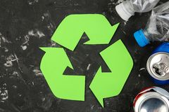 Eco symbol. recycling. eco concept on black concrete table. waste recycling. top view stock image