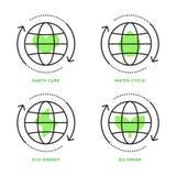 Eco symboler, grön energi som återanvänder Ekologiska begrepp, symbolsuppsättning royaltyfri bild