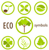 Eco symbols. Set of eco icons and symbols in circles. vector illustration Stock Images