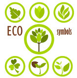 Eco symbols collection. Set of eco icons and symbols in circles.  Vector illustration Royalty Free Stock Images