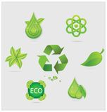 Eco symbols and emblems set green color Stock Photo