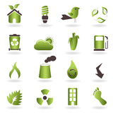 Eco symbols and icons. Eco related symbols and icons stock illustration