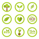 Eco symbols and icons. Set of eco icons and symbols with leaves and plants. Vector illustration Royalty Free Stock Photo