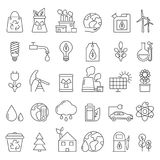 Eco symbols in mono line style. Industrial and ecology pictures set stock illustration