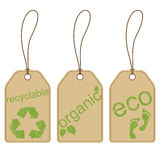Eco tags. Eco friendly carton tags with grunge effect royalty free illustration
