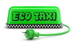 ECO Taxi concept with green taxi car roof sign Stock Images