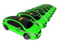 Eco taxi fleet Stock Images