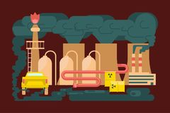 Eco technologies in the city. Modern eco technologies in the city. Solve polution problem. Icons in flat design. Vector illustration eps 10 Stock Photography