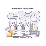 Eco technologies in the city. Modern eco technologies in the city. Solve polution problem. Icons in flat design. Vector illustration eps 10 Stock Photo
