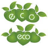 ECO text on a concept in the ecological colors. Vector logo templates and elements related to ecology, environment, nature Stock Image
